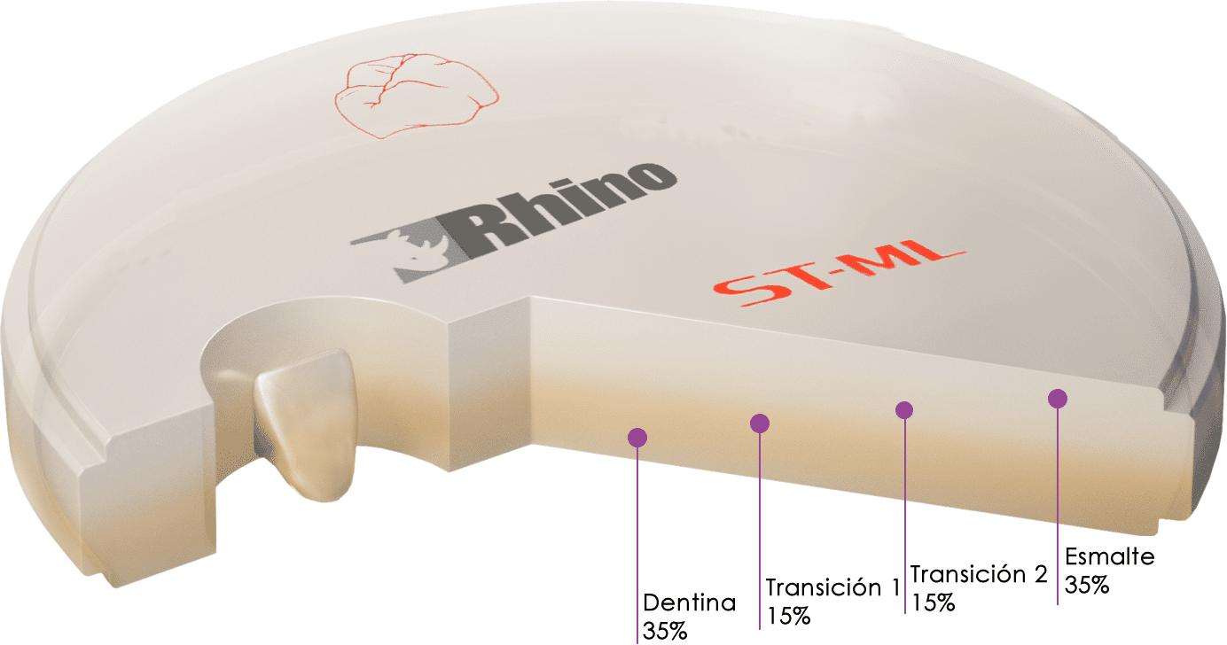 ZIRCONIA MDC DENTAL RHINO SUPER TRANSLUCIDO MULTILAYER STML